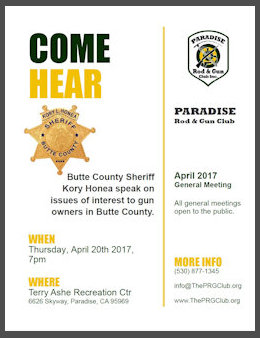 Poster for talk by Butte County Sheriff